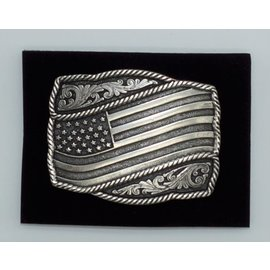 Attiude Buckles Antique Silver Engraved Flag