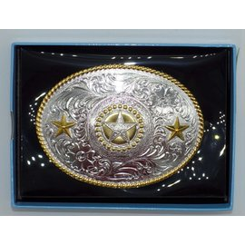 Nocona Roped Edge Silver Star Oval Buckle