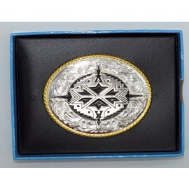Nocona Gold Buckle with Silver and Black Aztec Center 37932