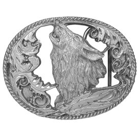 Siskiyou Gifts Howling Wolf Antiqued Belt Buckle L2CD-BKL