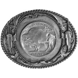Siskiyou Gifts Indian Nickel with Buffalo Antiqued Belt Buckle J3-BKL
