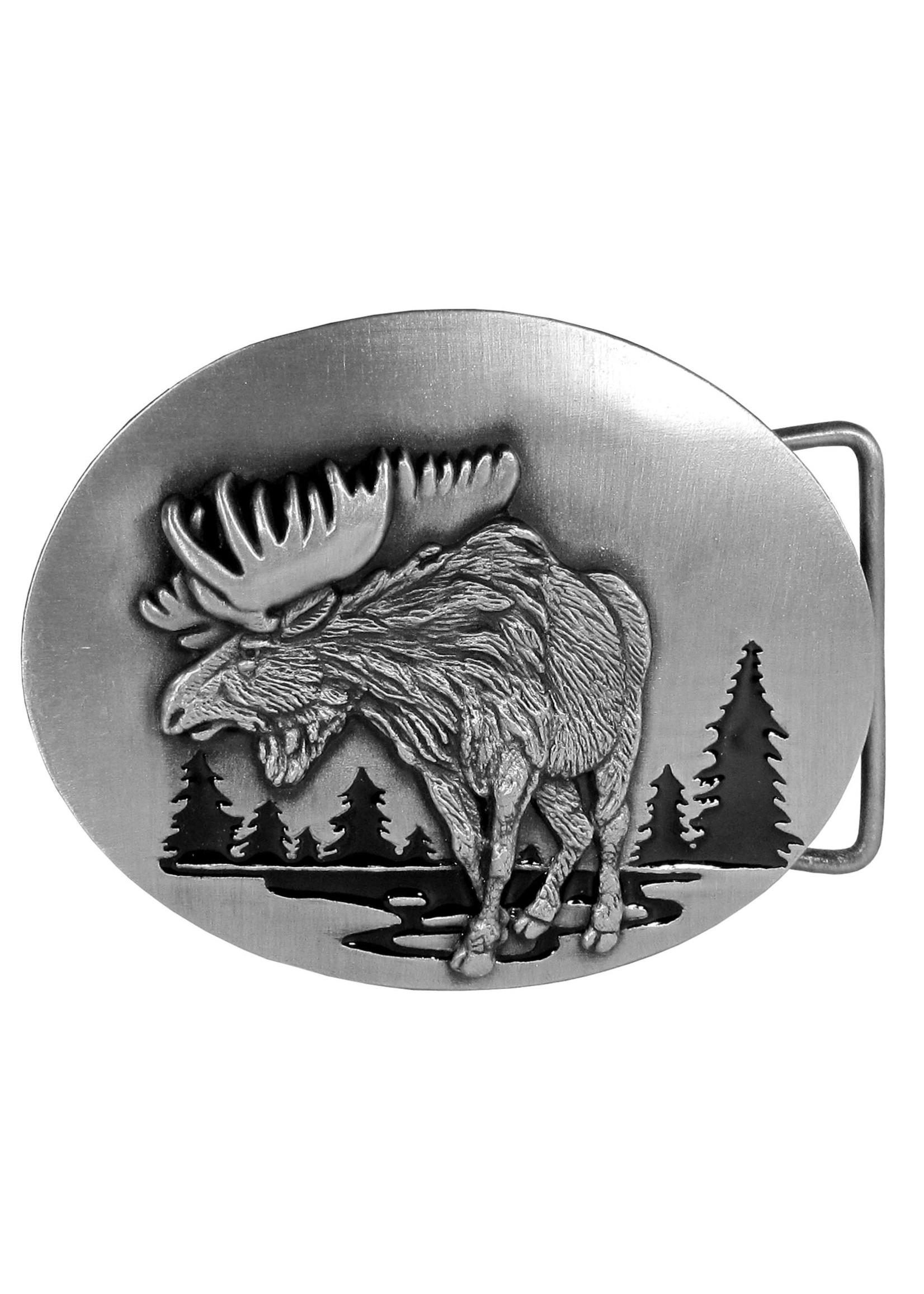 Siskiyou Gifts Moose in River Enameled Belt Buckle L3E