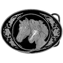 Siskiyou Gifts Horse and Colt Enameled Belt Buckle A5D