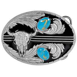 Siskiyou Gifts Turquoise Stones with Buffalo Skull (Diamond Cut) Enameled Belt Buckle U2DE