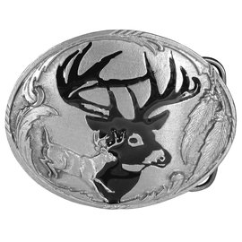 Siskiyou Gifts Deer Silhouette Enameled Belt Buckle W3E