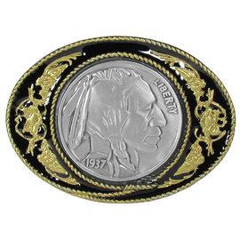Siskiyou Gifts Indian Head Nickel Vivatone Belt Buckle E5G