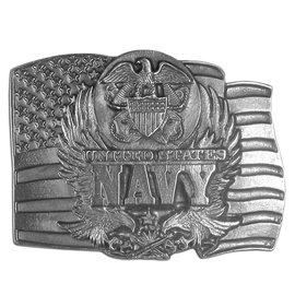 Siskiyou Gifts Navy Seal on Flag Antiqued Belt Buckle D92