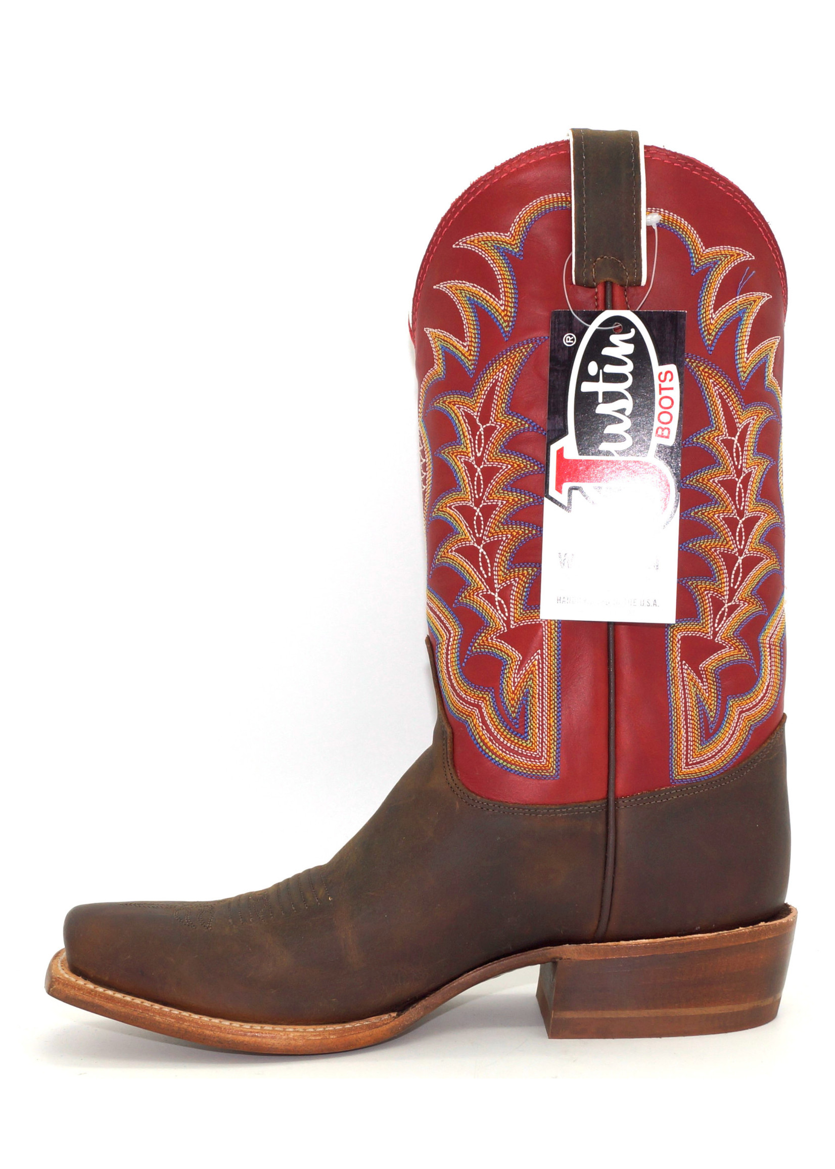 Justin Men's Coffee Road Red Pampero Square Toe Boot 2711