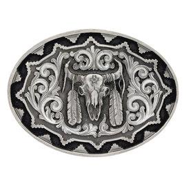 Attiude Buckles Buffalo Skull With Feather Attitude Buckle