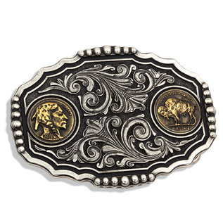 Attiude Buckles Two Tone Buffalo Nickel Attitude Buckle
