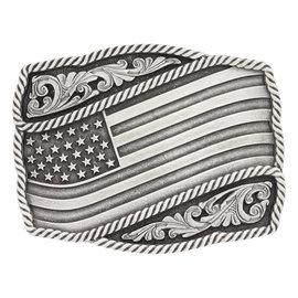 Attiude Buckles Classic Impressions Waving American Flag Attitude Buckle A590S