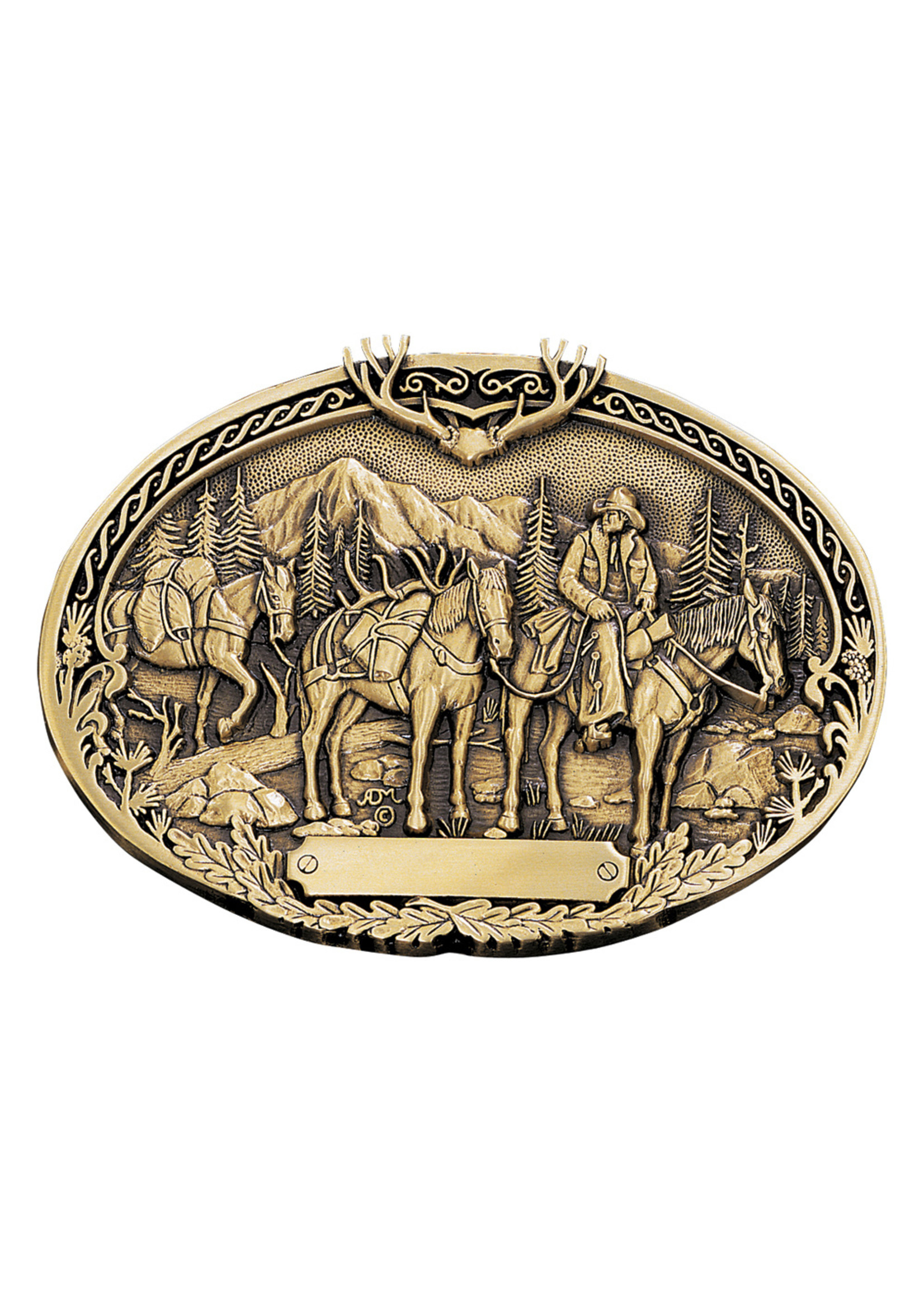 Attiude Buckles Pack Horses and Rider Brass Heritage Attitude Belt Buckle 60789C