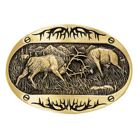 Attiude Buckles Fighting Elk Brass Heritage Attitude Belt Buckle 60800C