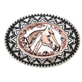 Copper Belt buckle Horsehead with Filigree BB-101