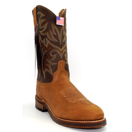 "Abilene Abilene Mens 11"" Tan and Dark Brown Cowhide Cowboy Boots 6831"