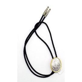 22267- Silver Gold Scroll Bolo Tie
