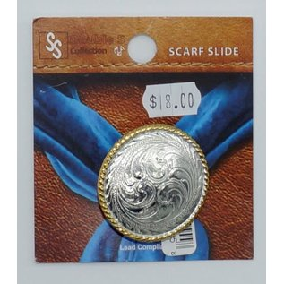 M&F Silver Etched with Gold Rope Edge Scarf Slide -  28070
