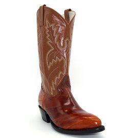 Men's Cognac Eel Skin Western Boots - 953