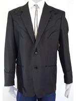 Black Western Blazer Jacket Floral Tonal P-733