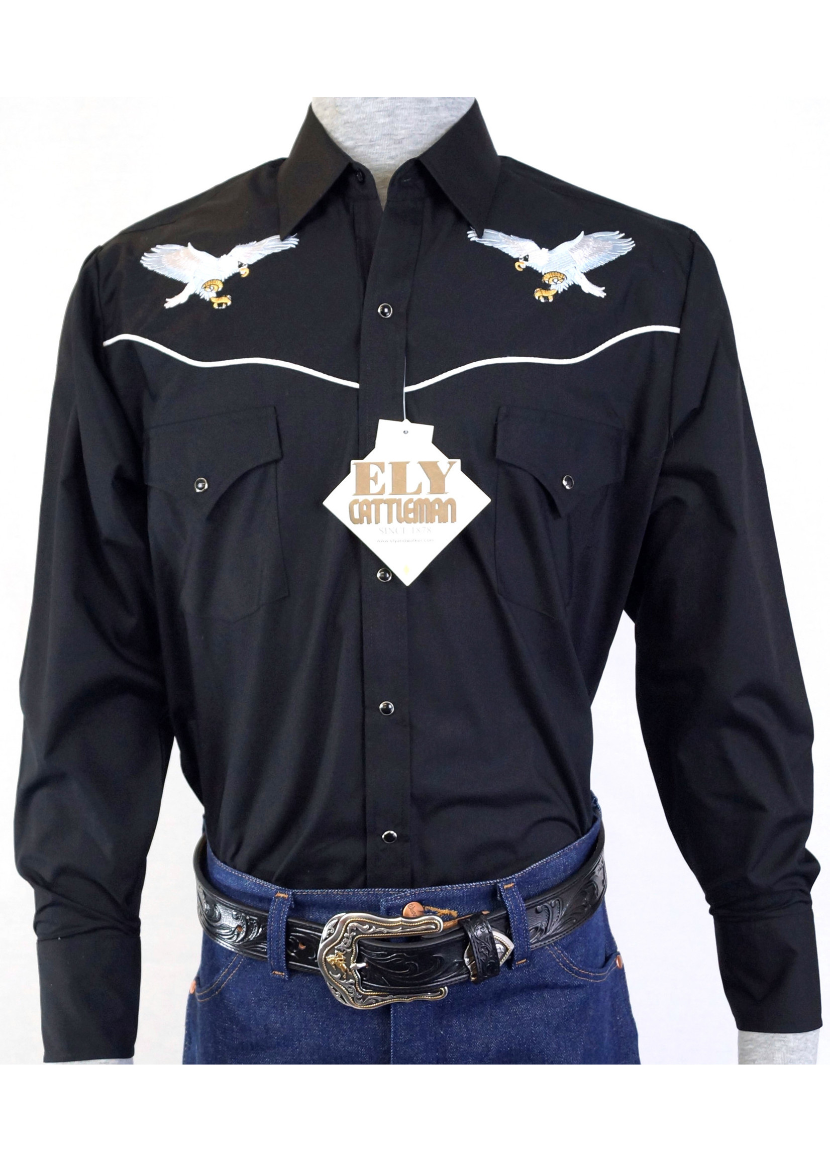 Ely Long Sleeve Black Western Shirt with Eagle Embroidery