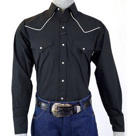Ely Men's Shirt / Black - White Piping