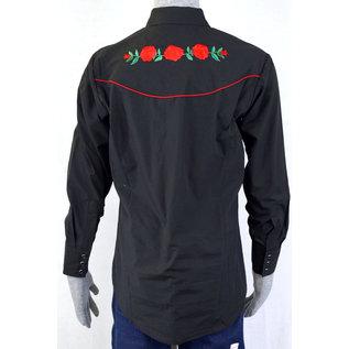 Ely Men's Shirt - Black/ Red Roses