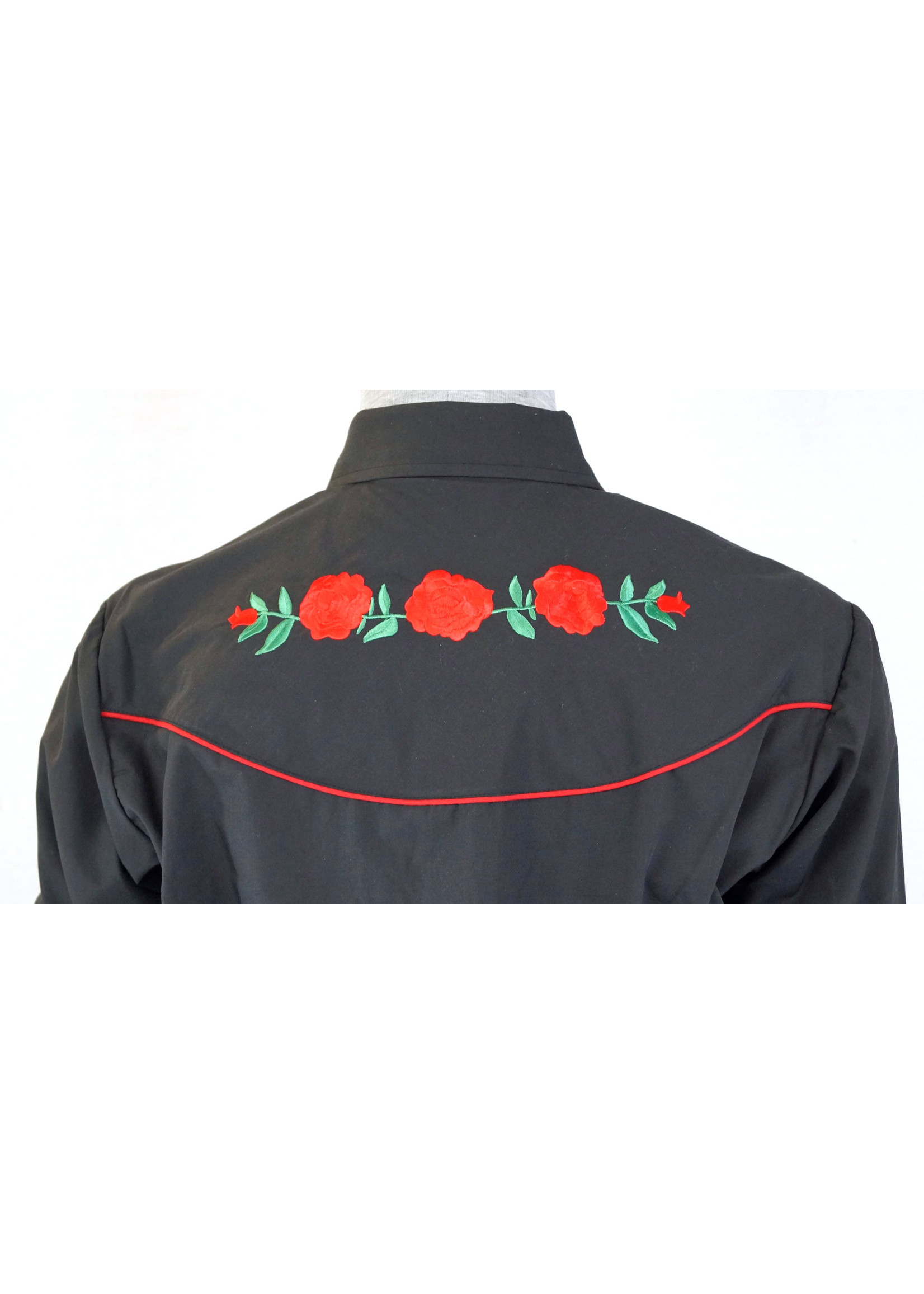 Ely Men's  Long Sleeve Western Shirt with Rose Embroidery