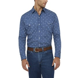 Ely Long Sleeve Diamond Print Shirt Blue Large