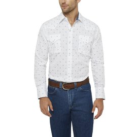 Ely Long Sleeve Diamond Print Shirt White Medium