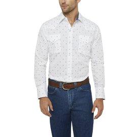 Ely Long Sleeve Diamond Print Shirt White X-Large