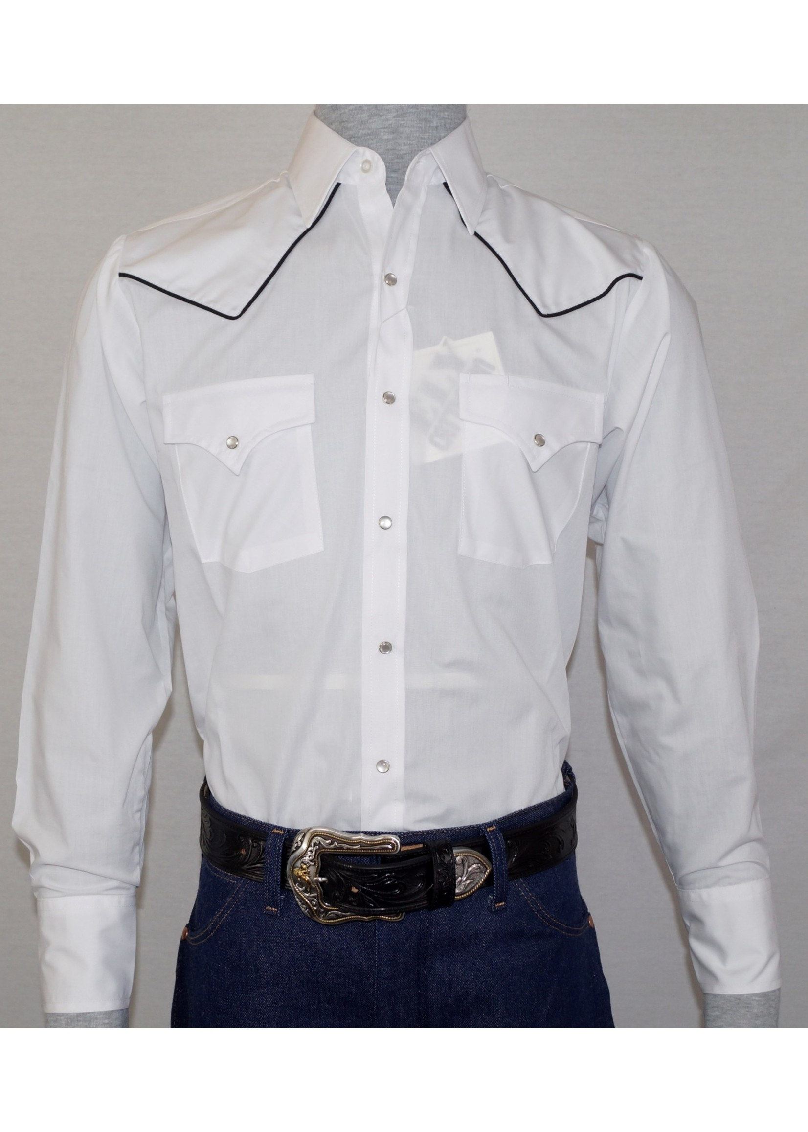 Ely Men's Long Sleeve Western Shirt with Black Piping
