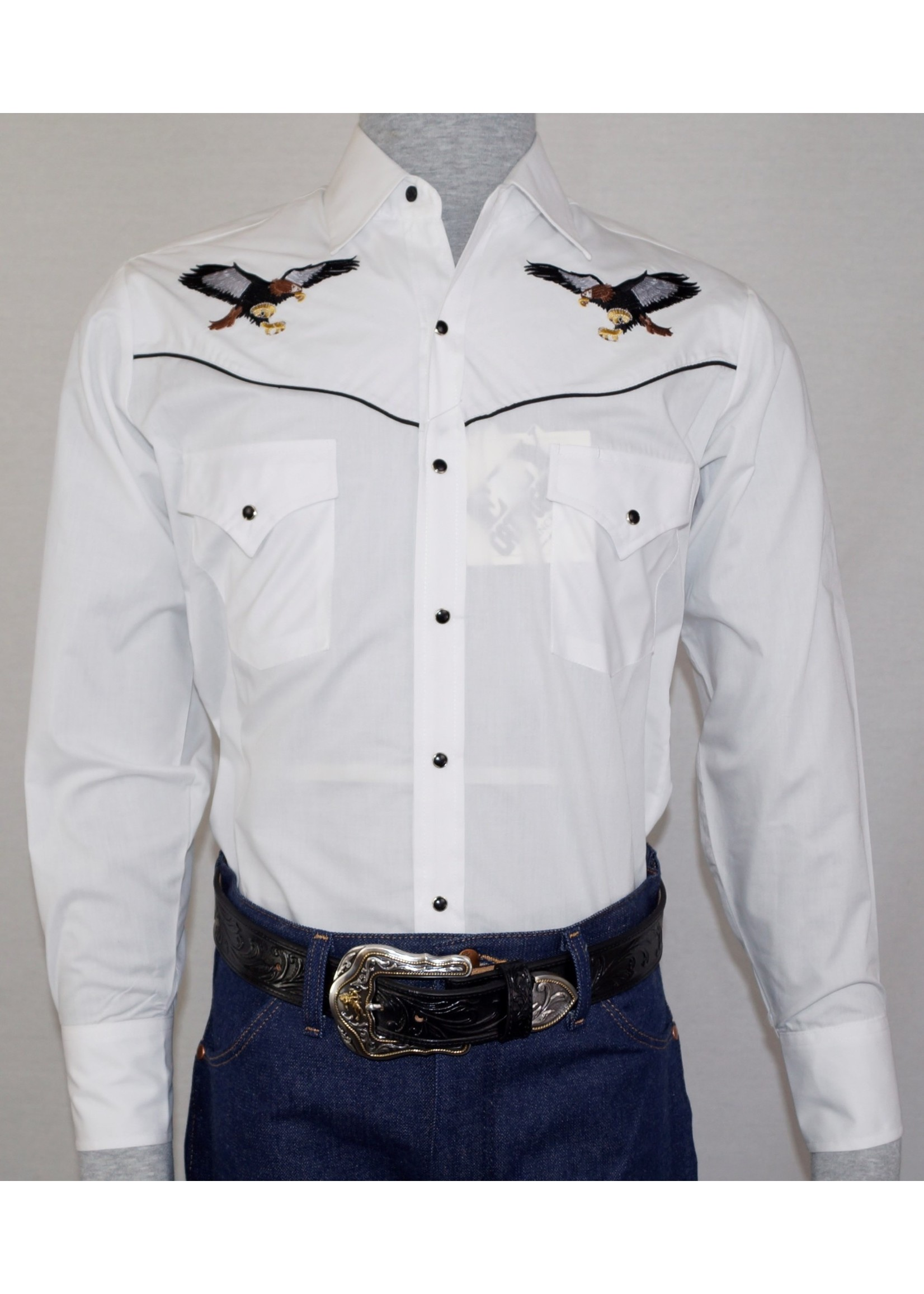 Ely Men's White Long Sleeve Western Shirt with Eagle Embroidery