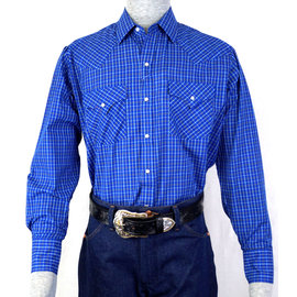 Ely Men's Long Sleeve Blue Checkered Shirt