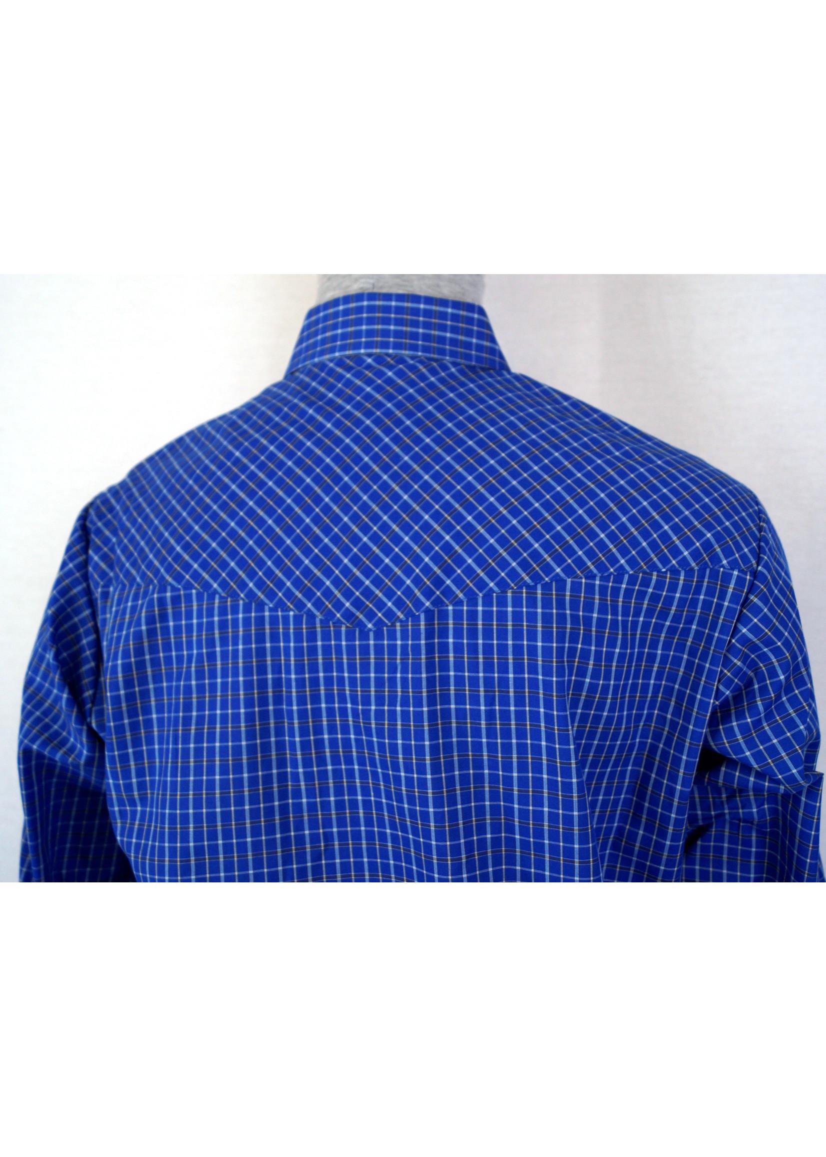 Ely Men's Long Sleeve Blue Checkered Shirt
