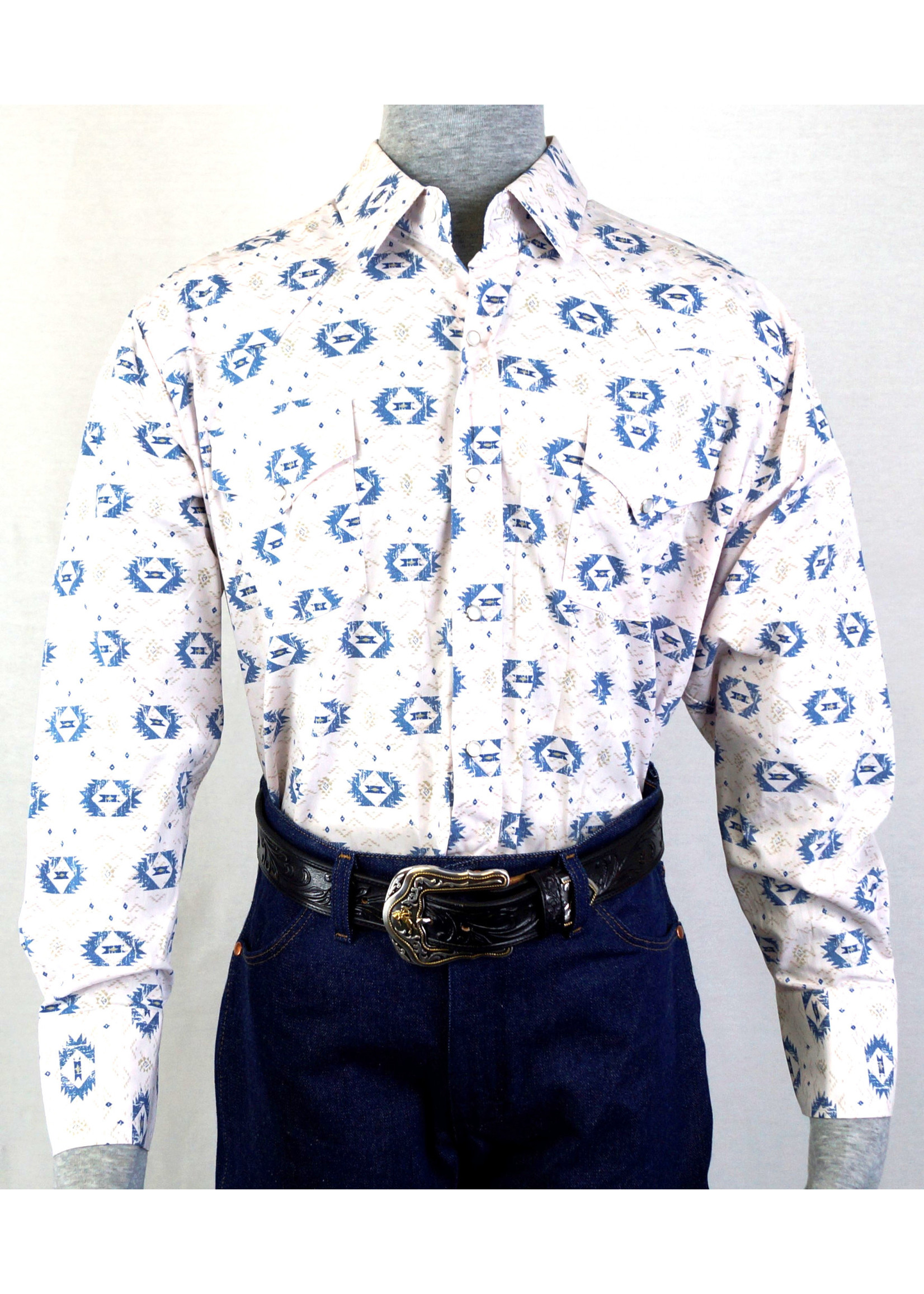 Ely Men's Long Sleeve White With  Aztec Pattern