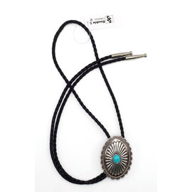 M&F Silver Colored with Blue Stone Bolo Tie 22107
