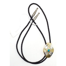 M&F Gold Silver Colored Cross with Turquoise Bolo Tie 22113