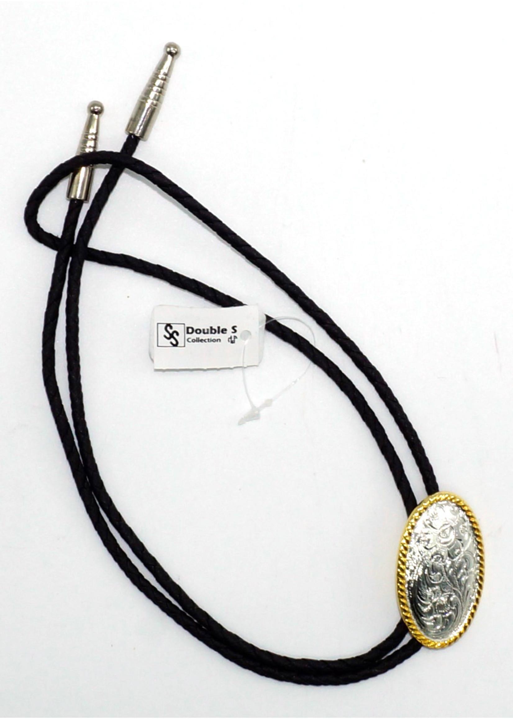 M&F 22802- Silver Gold Scroll Bolo Tie