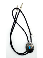 M&F Silver Round with Turquoise Bolo Tie 22864