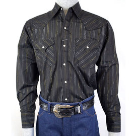 Ely 15202944-89- Men's Shirt / Black with Gold Thread