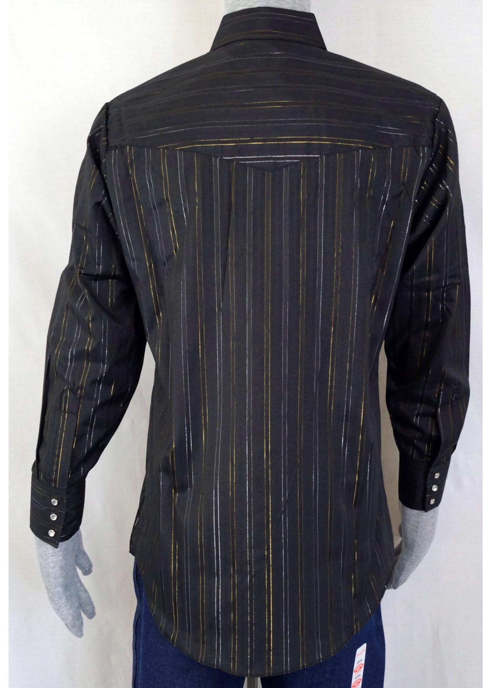 Ely Men's Black Long Sleeve Metallic Gold Western Shirt 15202944-89