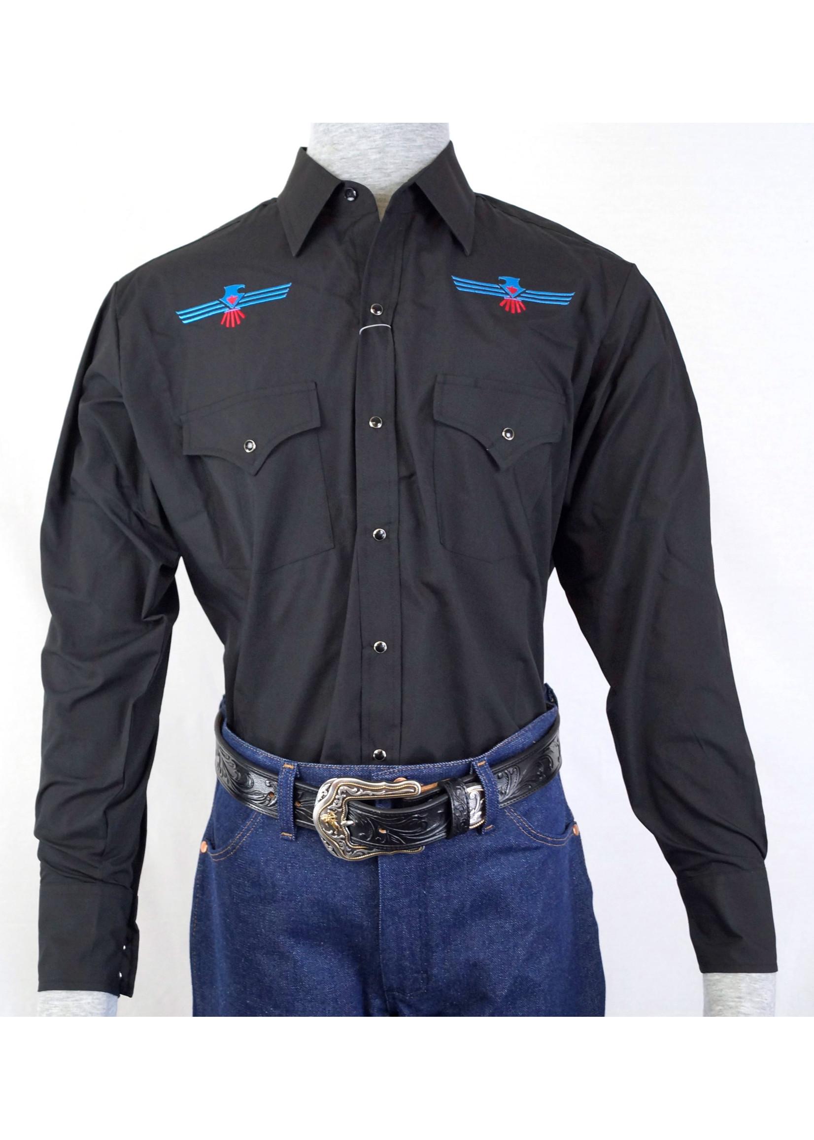 Ely Men's Black with Aztec Eagle Emblem Shirt 15203955-89
