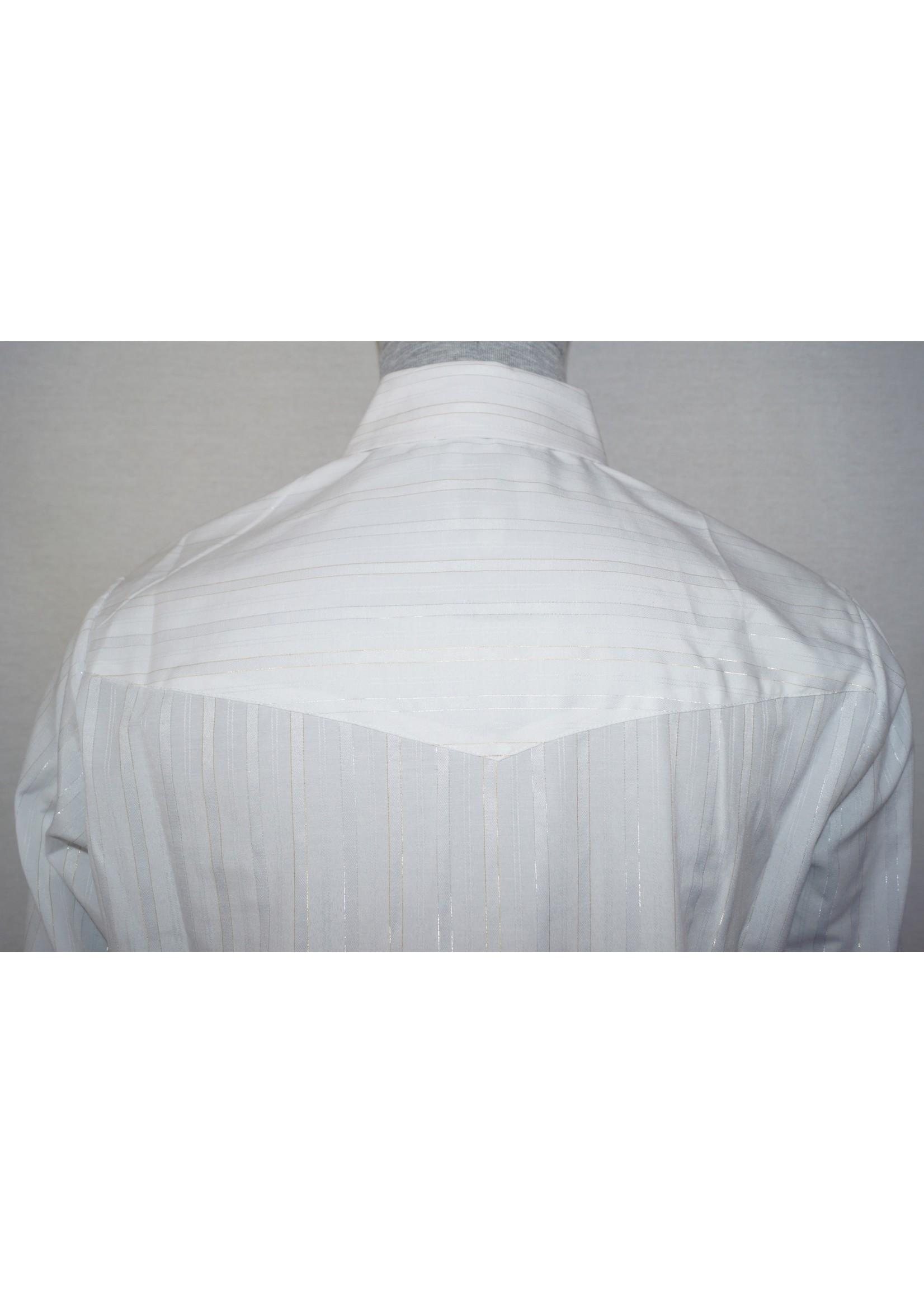 Ely Men's White Long Sleeve Metallic Gold & Silver Western Shirt 15202944-01