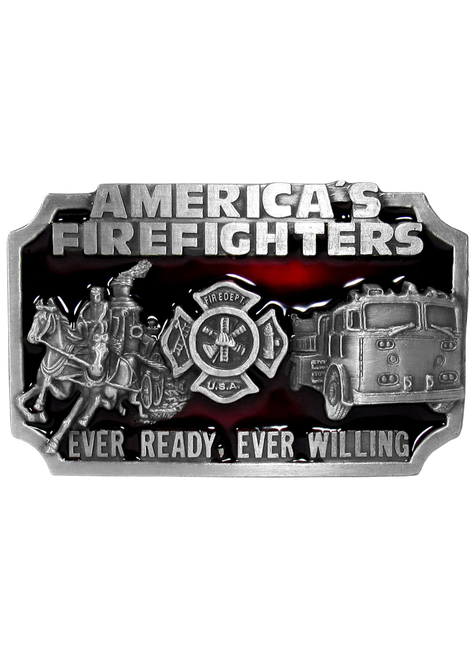 Siskiyou Gifts American Fire Fighters Enameled Belt Buckle