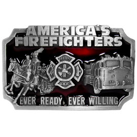 Siskiyou Gifts American Fire Fighters Enameled Belt Buckle S27E