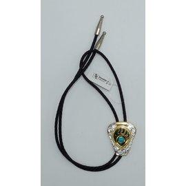 M&F 22281- Silver Gold Bear Paw Bolo Tie