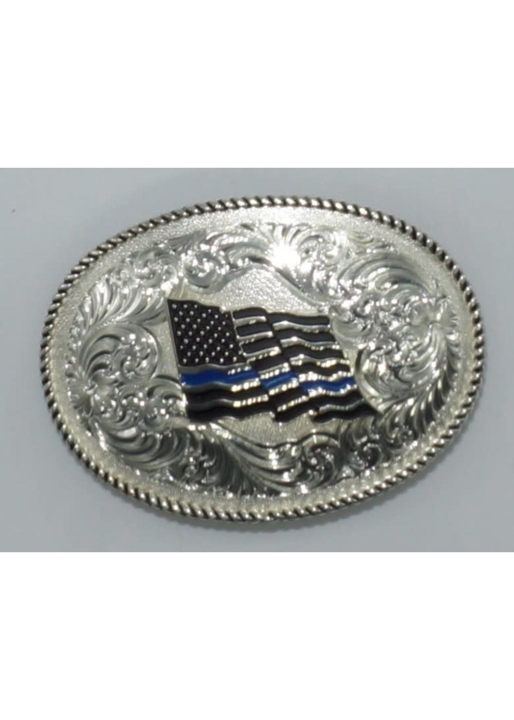 Montana Silversmiths 1340TBL / Thin Blue Line Flag