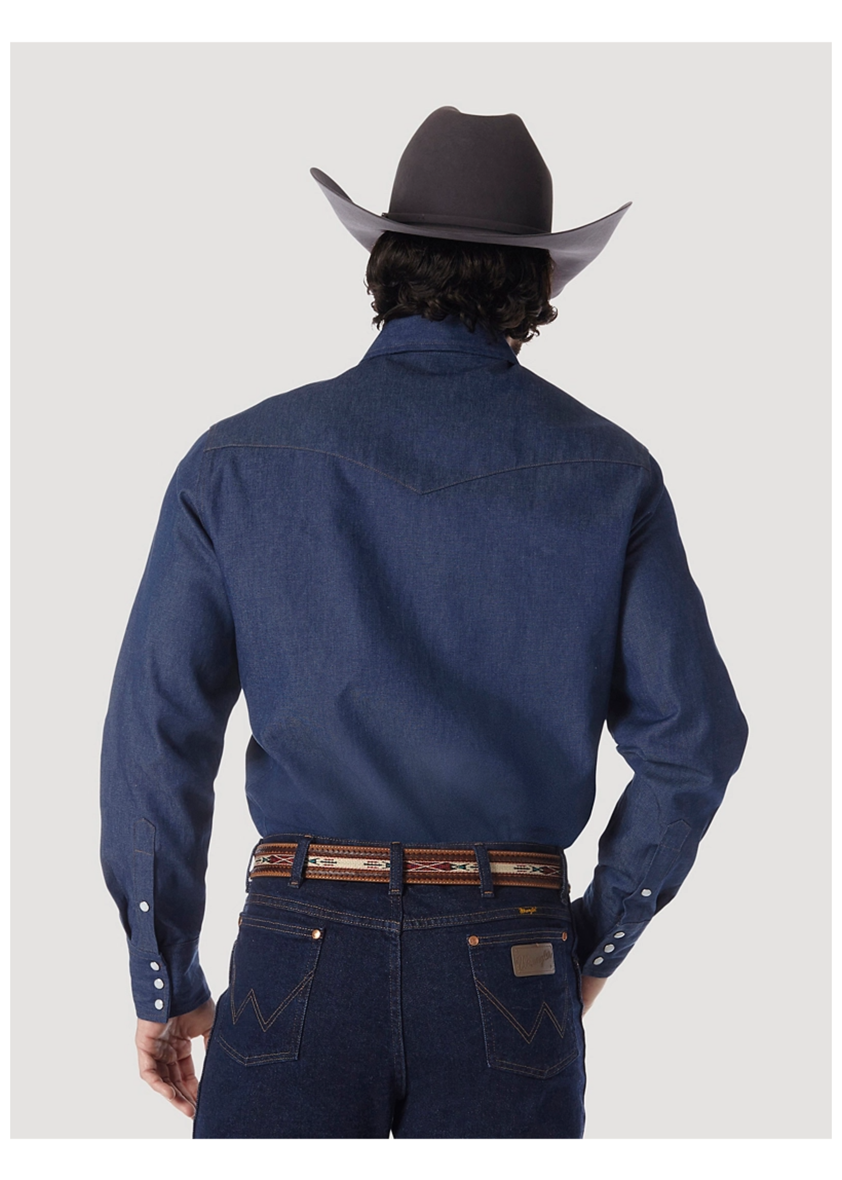 Wrangler COWBOY CUT® WORK WESTERN RIGID DENIM LONG SLEEVE SHIRT IN RIGID INDIGO