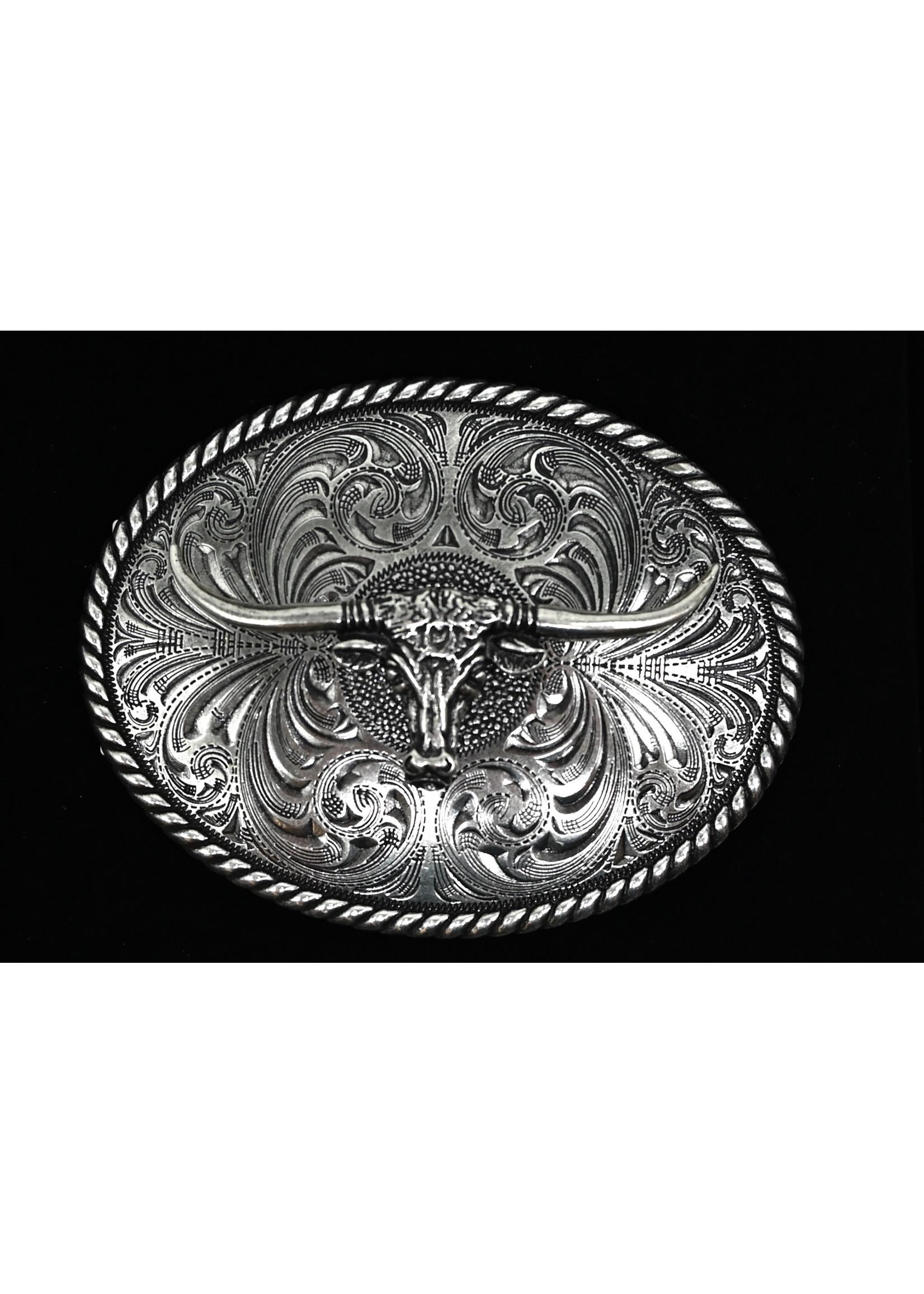 Montana Silversmiths 61028- Longhorn Bull  4 x 3 buckle