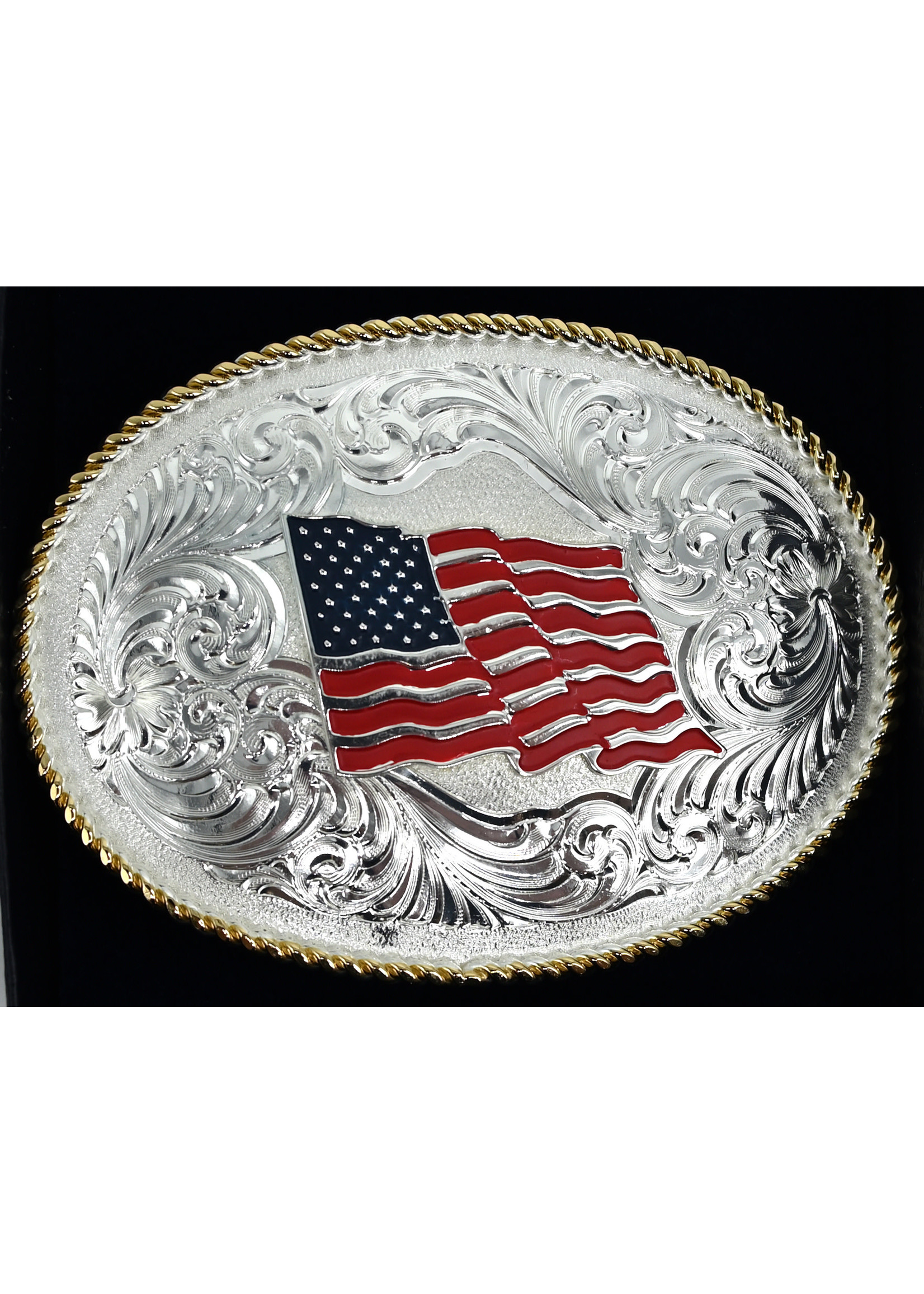 Montana Silversmiths 1340-874 - American Flag Gold Rope 3.75x 2.75